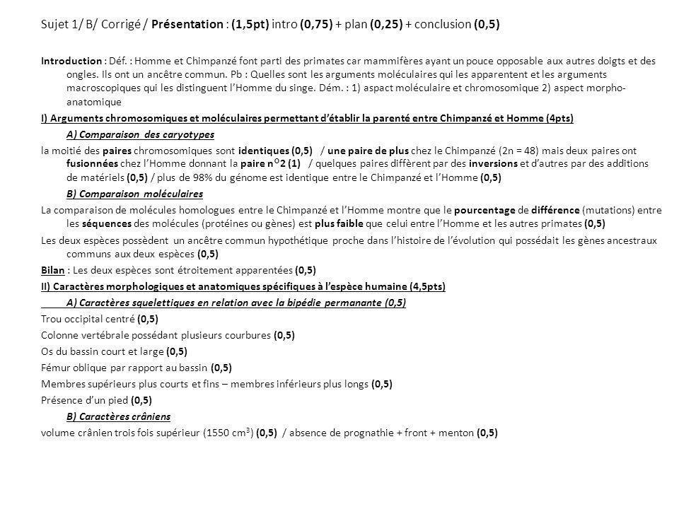 Sujet 1/ B/ Corrigé / Présentation : (1,5pt) intro (0,75) + plan (0,25) + conclusion (0,5)