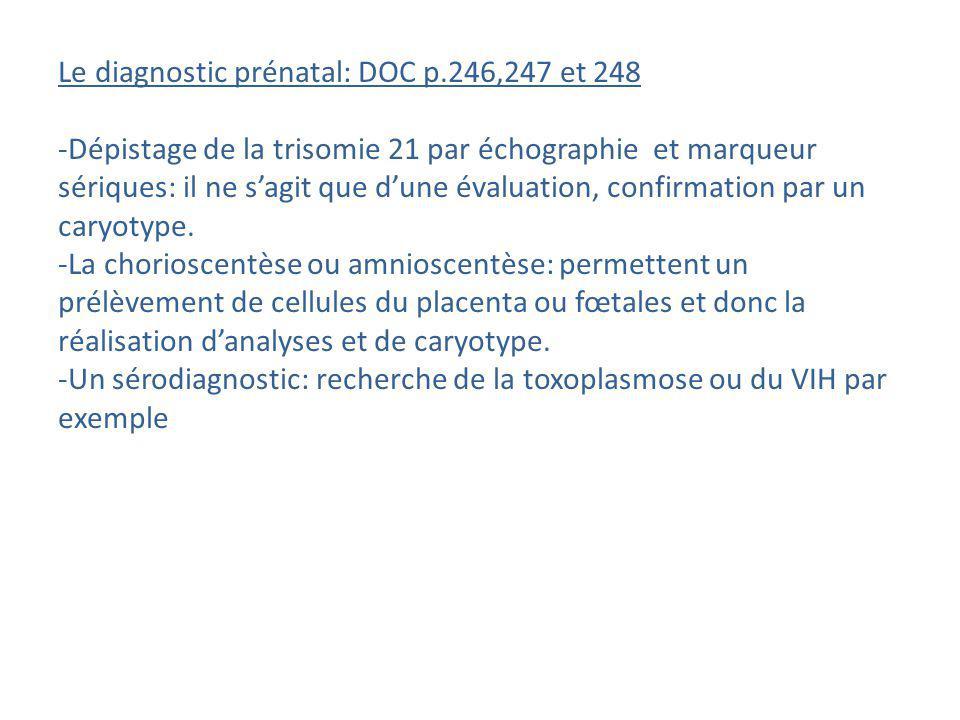 Le diagnostic prénatal: DOC p.246,247 et 248