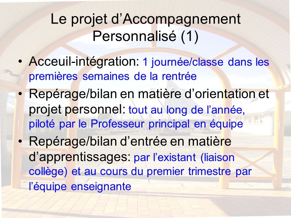 Le projet d'Accompagnement Personnalisé (1)