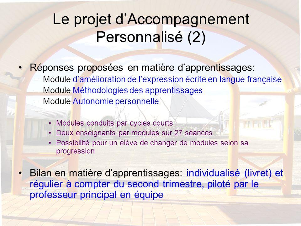 Le projet d'Accompagnement Personnalisé (2)