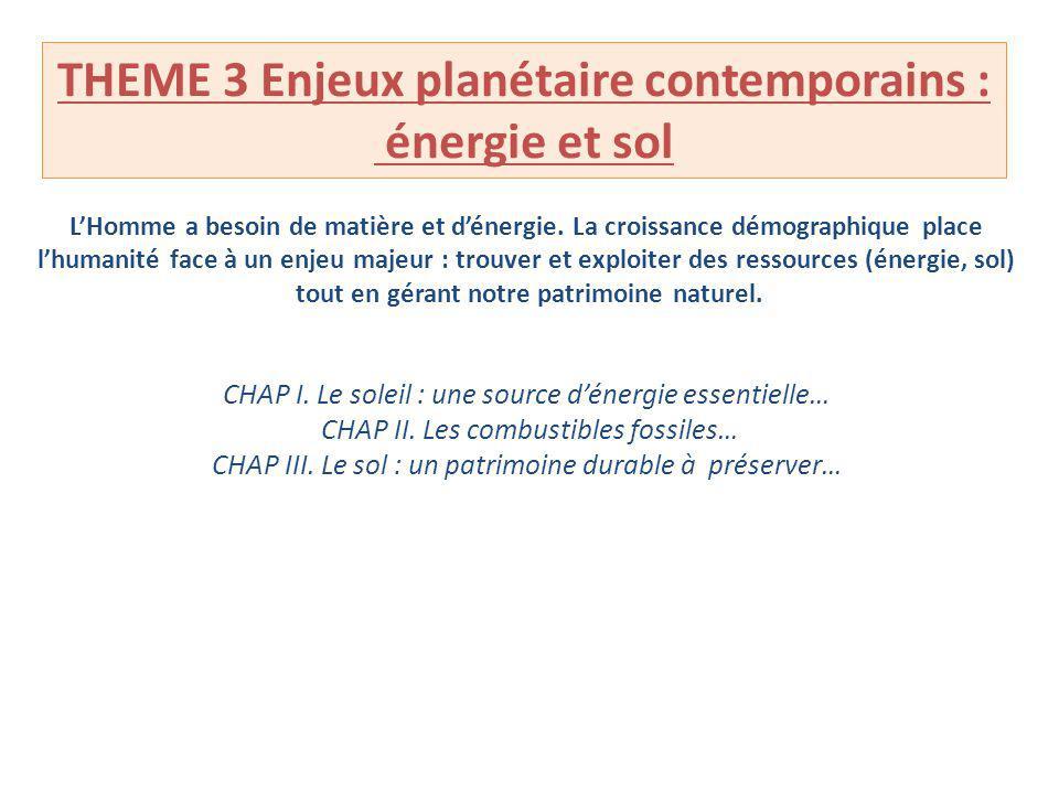 THEME 3 Enjeux planétaire contemporains : énergie et sol