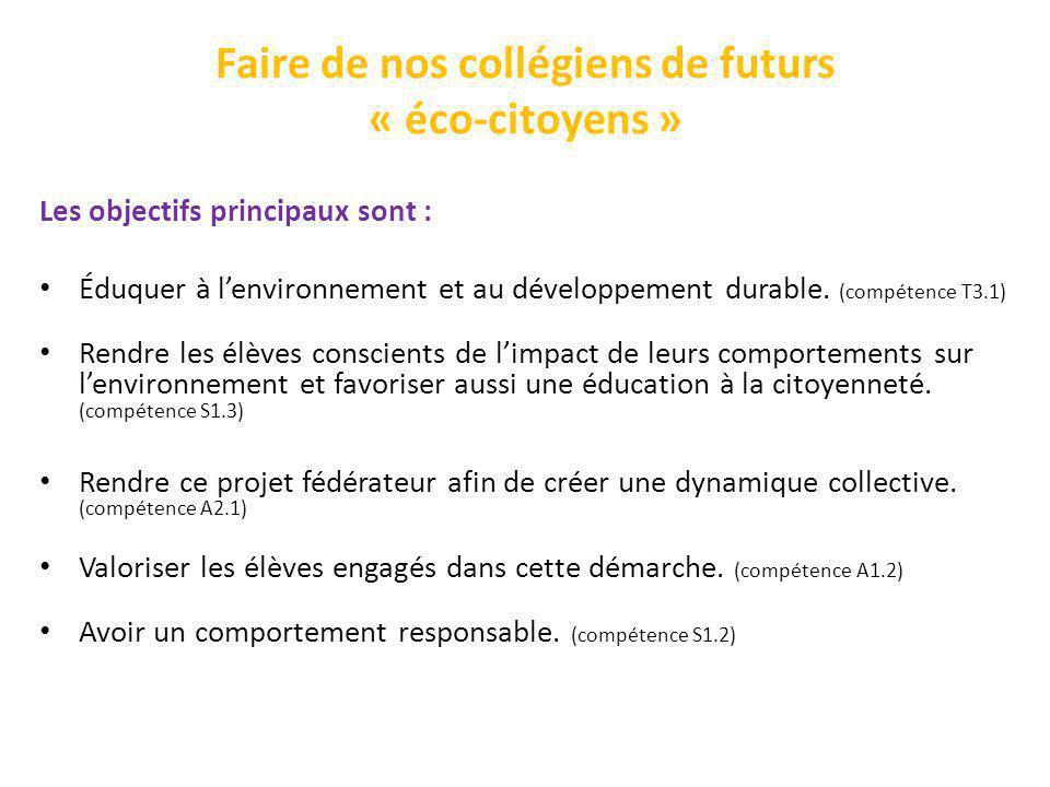 Faire de nos collégiens de futurs « éco-citoyens »