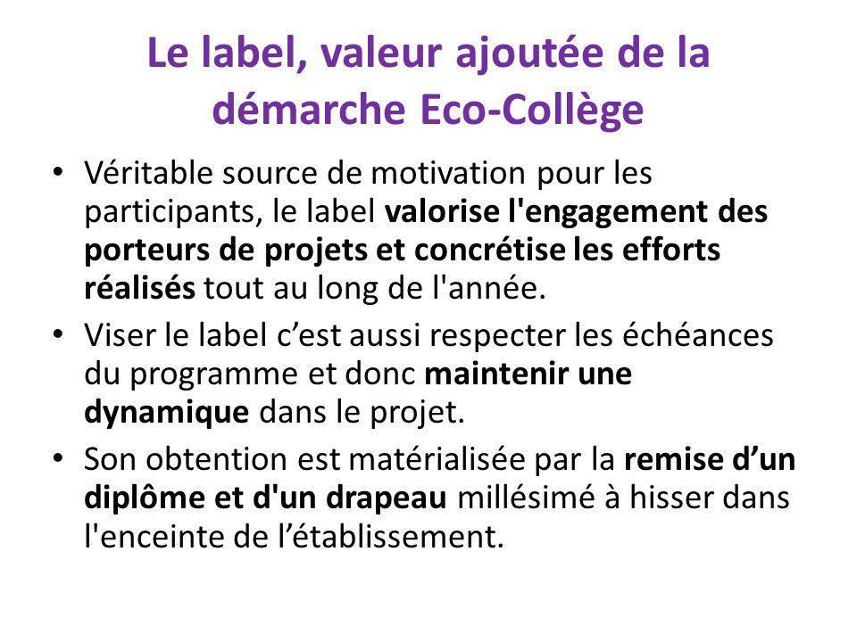 Le label, valeur ajoutée de la démarche Eco-Collège