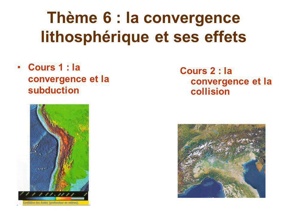 Thème 6 : la convergence lithosphérique et ses effets