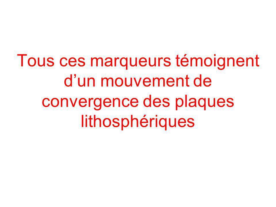 Tous ces marqueurs témoignent d'un mouvement de convergence des plaques lithosphériques