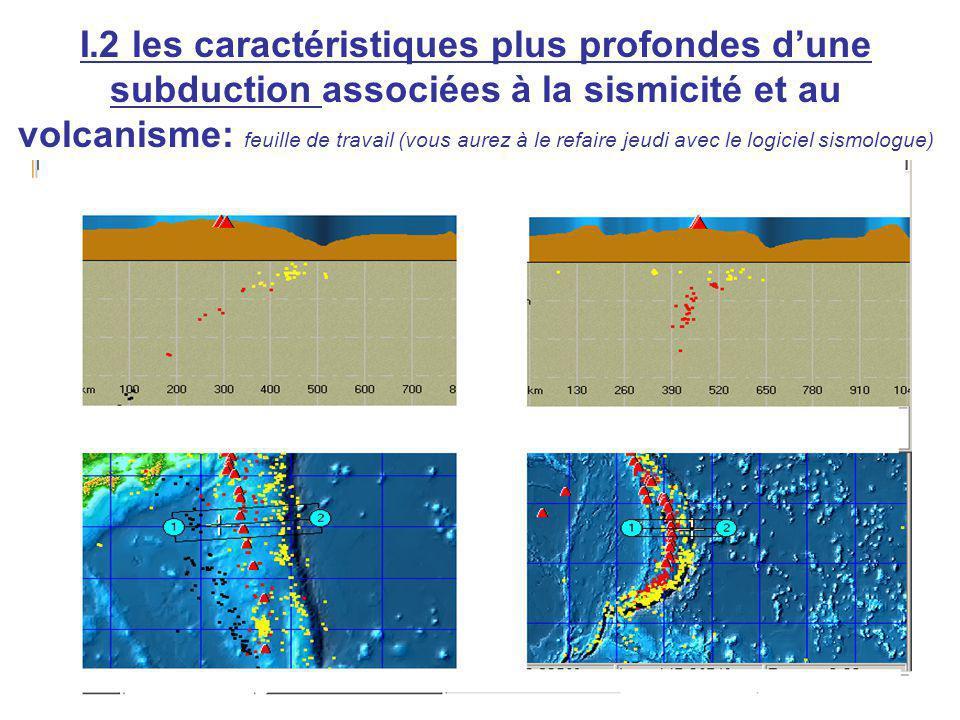 I.2 les caractéristiques plus profondes d'une subduction associées à la sismicité et au volcanisme: feuille de travail (vous aurez à le refaire jeudi avec le logiciel sismologue)