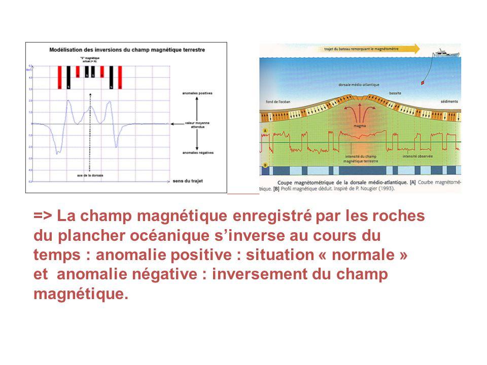 => La champ magnétique enregistré par les roches
