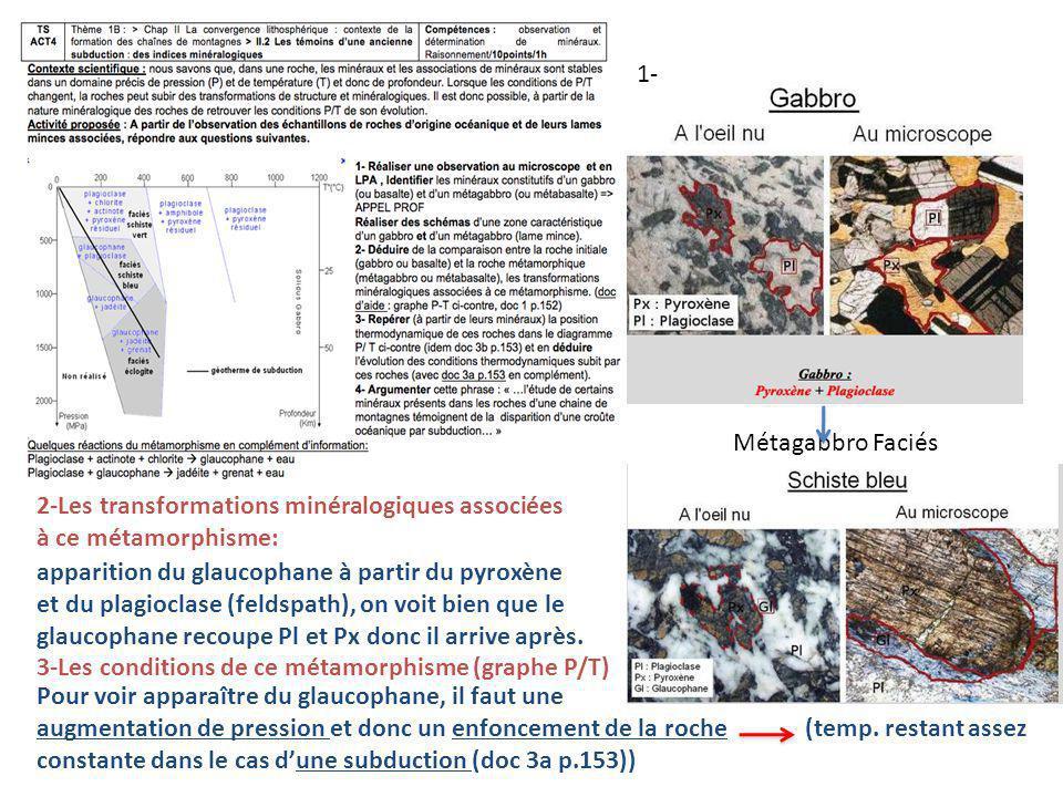 1- Métagabbro Faciés. 2-Les transformations minéralogiques associées. à ce métamorphisme: apparition du glaucophane à partir du pyroxène.