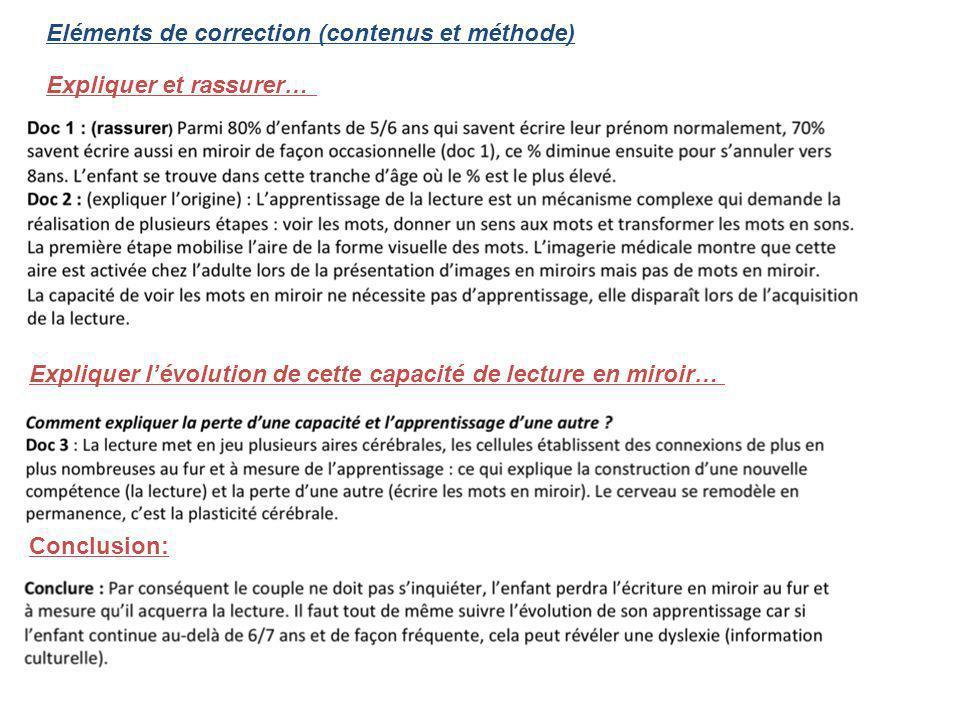 Eléments de correction (contenus et méthode)