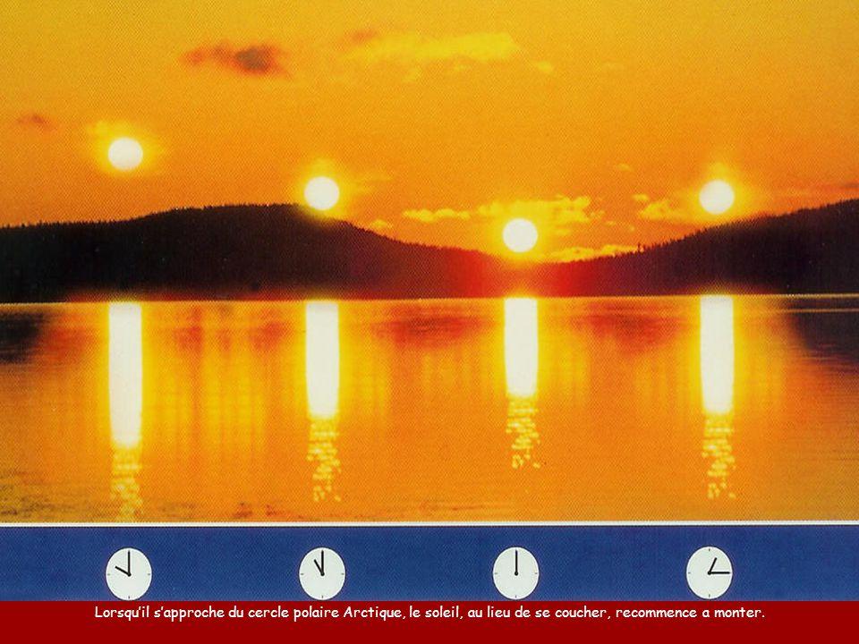 Lorsqu'il s'approche du cercle polaire Arctique, le soleil, au lieu de se coucher, recommence a monter.