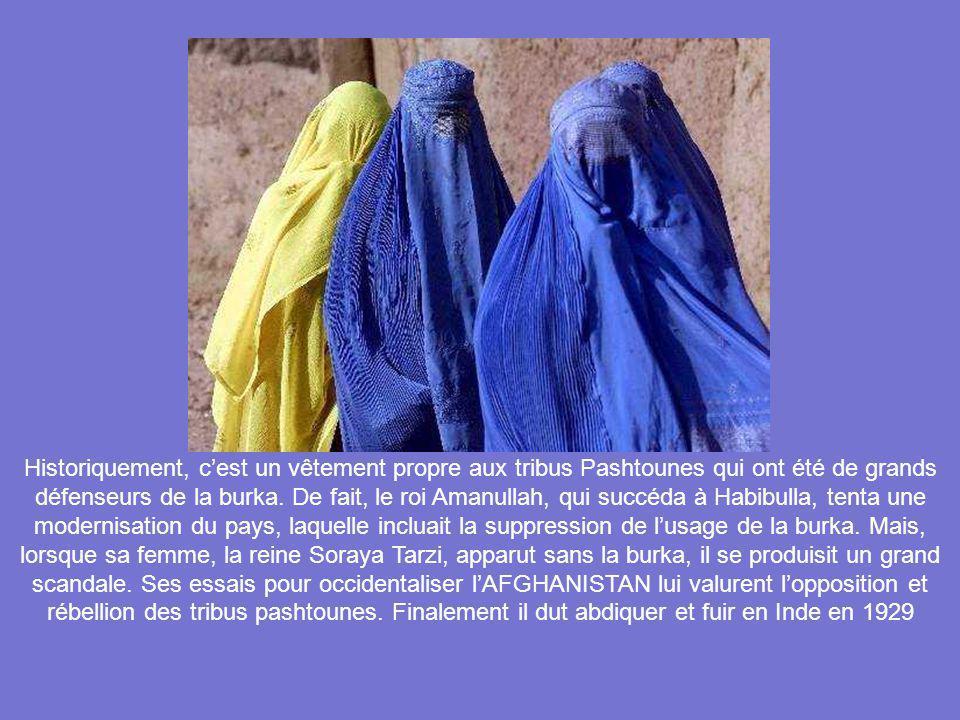 Historiquement, c'est un vêtement propre aux tribus Pashtounes qui ont été de grands défenseurs de la burka.