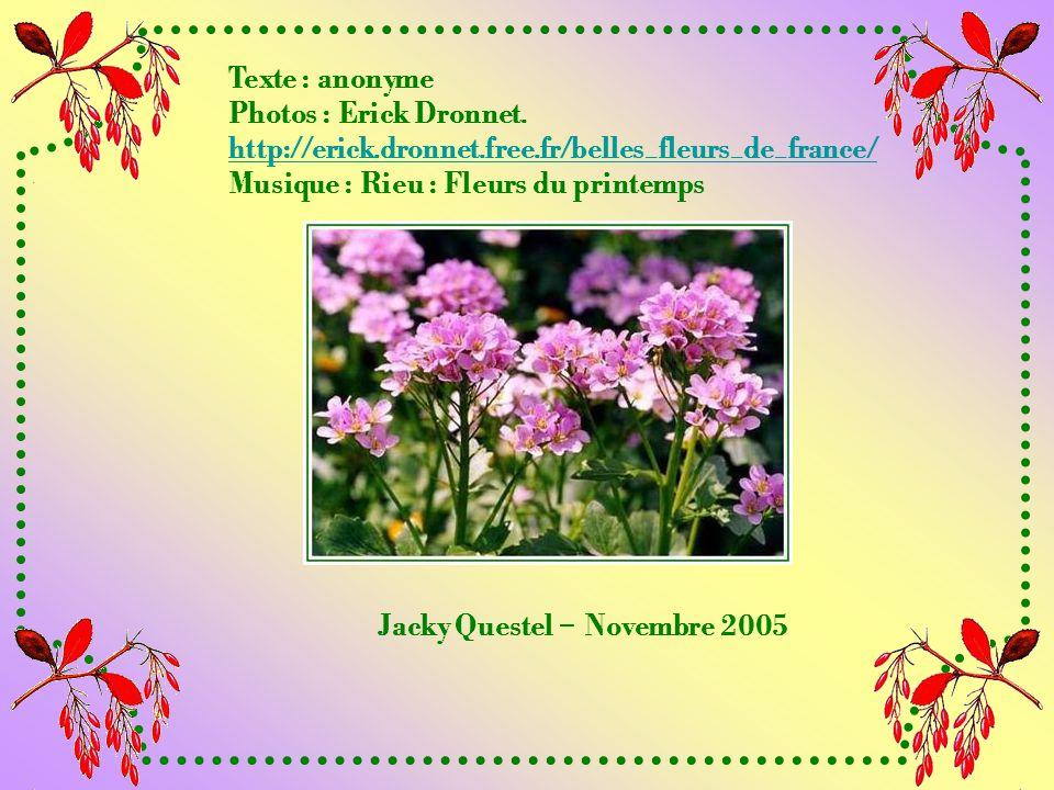 Texte : anonyme Photos : Erick Dronnet. http://erick.dronnet.free.fr/belles_fleurs_de_france/ Musique : Rieu : Fleurs du printemps.