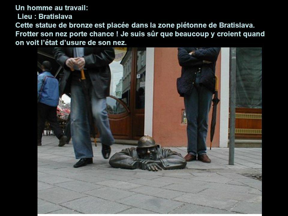 Un homme au travail: Lieu : Bratislava Cette statue de bronze est placée dans la zone piétonne de Bratislava.