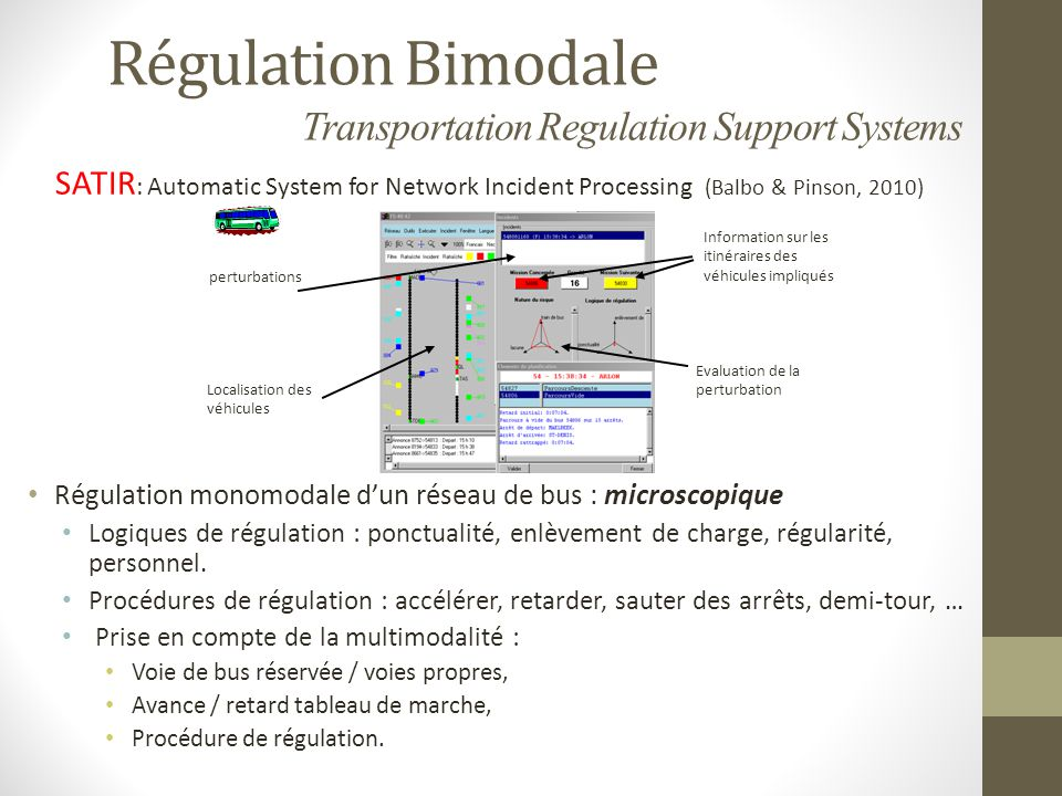 Régulation Bimodale Transportation Regulation Support Systems