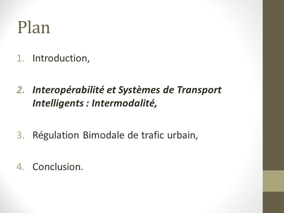Plan Introduction, Interopérabilité et Systèmes de Transport Intelligents : Intermodalité, Régulation Bimodale de trafic urbain,