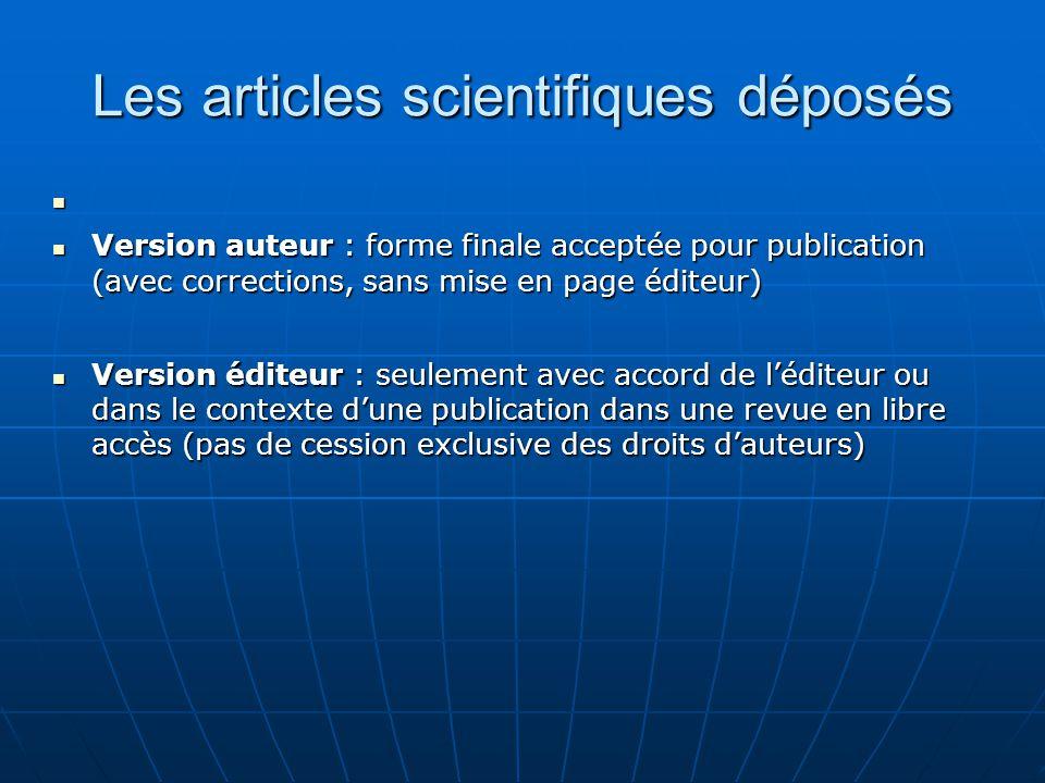 Les articles scientifiques déposés