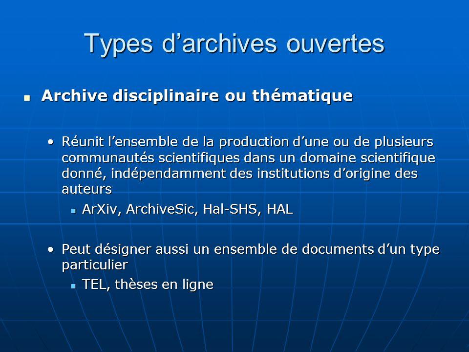 Types d'archives ouvertes