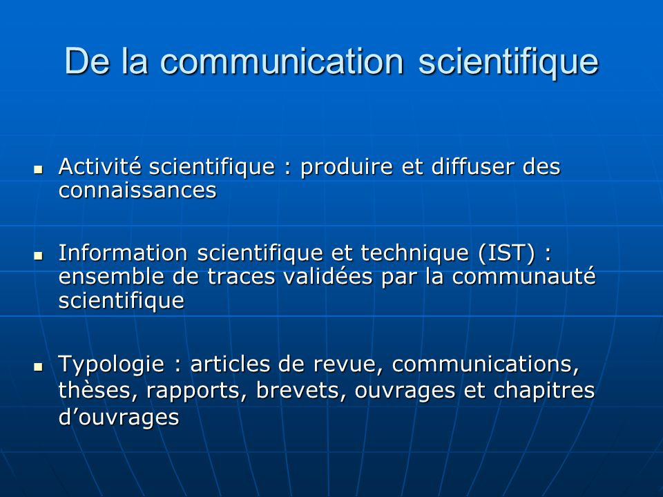De la communication scientifique