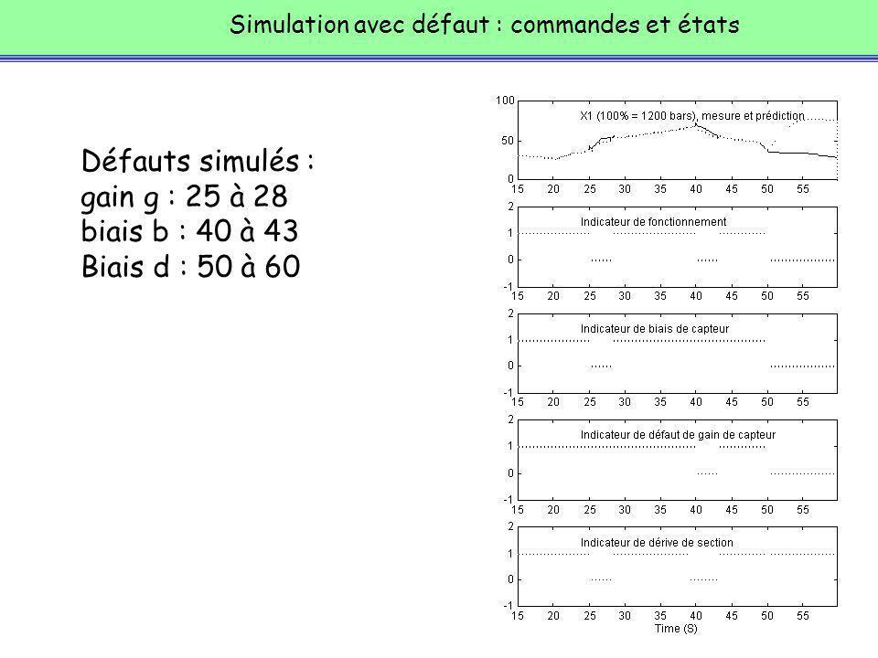 Défauts simulés : gain g : 25 à 28 biais b : 40 à 43 Biais d : 50 à 60
