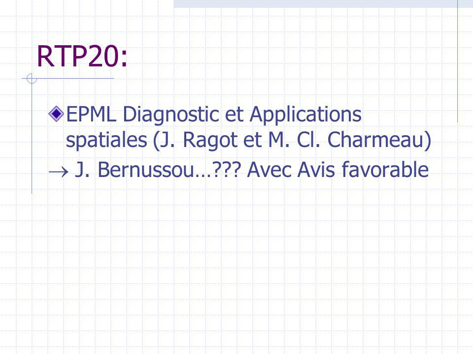 RTP20: EPML Diagnostic et Applications spatiales (J.