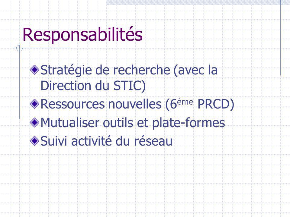 Responsabilités Stratégie de recherche (avec la Direction du STIC)