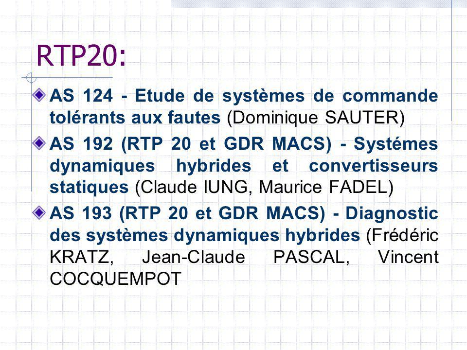 RTP20: AS 124 - Etude de systèmes de commande tolérants aux fautes (Dominique SAUTER)