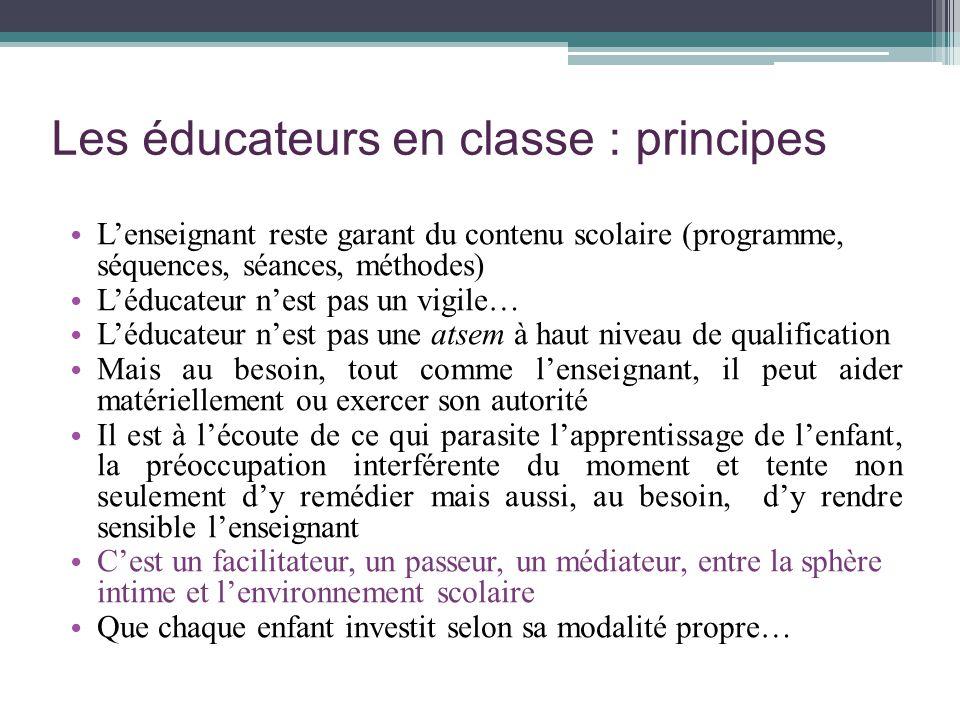 Les éducateurs en classe : principes