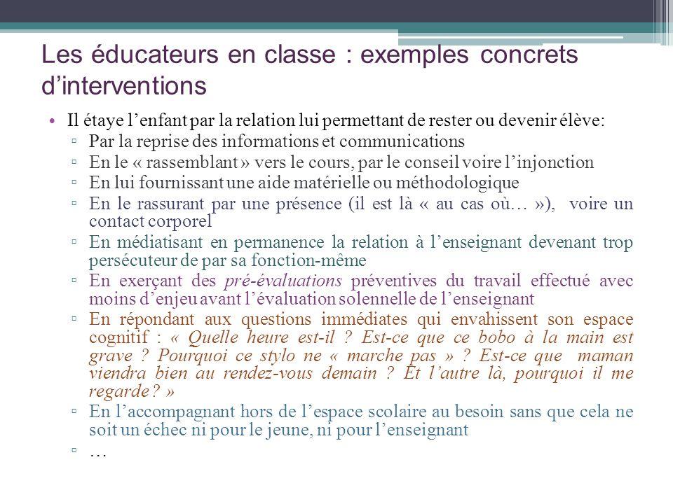 Les éducateurs en classe : exemples concrets d'interventions
