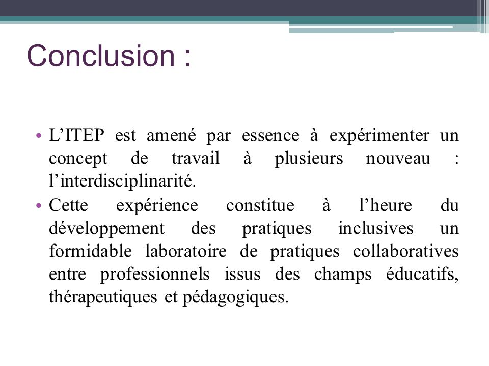 Conclusion : L'ITEP est amené par essence à expérimenter un concept de travail à plusieurs nouveau : l'interdisciplinarité.