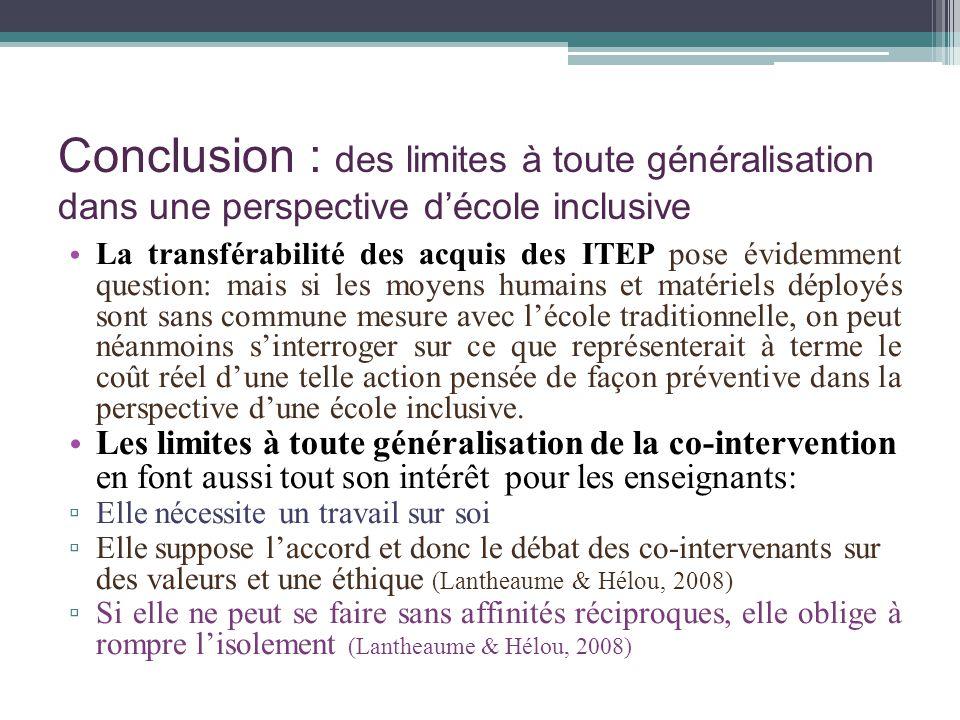 Conclusion : des limites à toute généralisation dans une perspective d'école inclusive