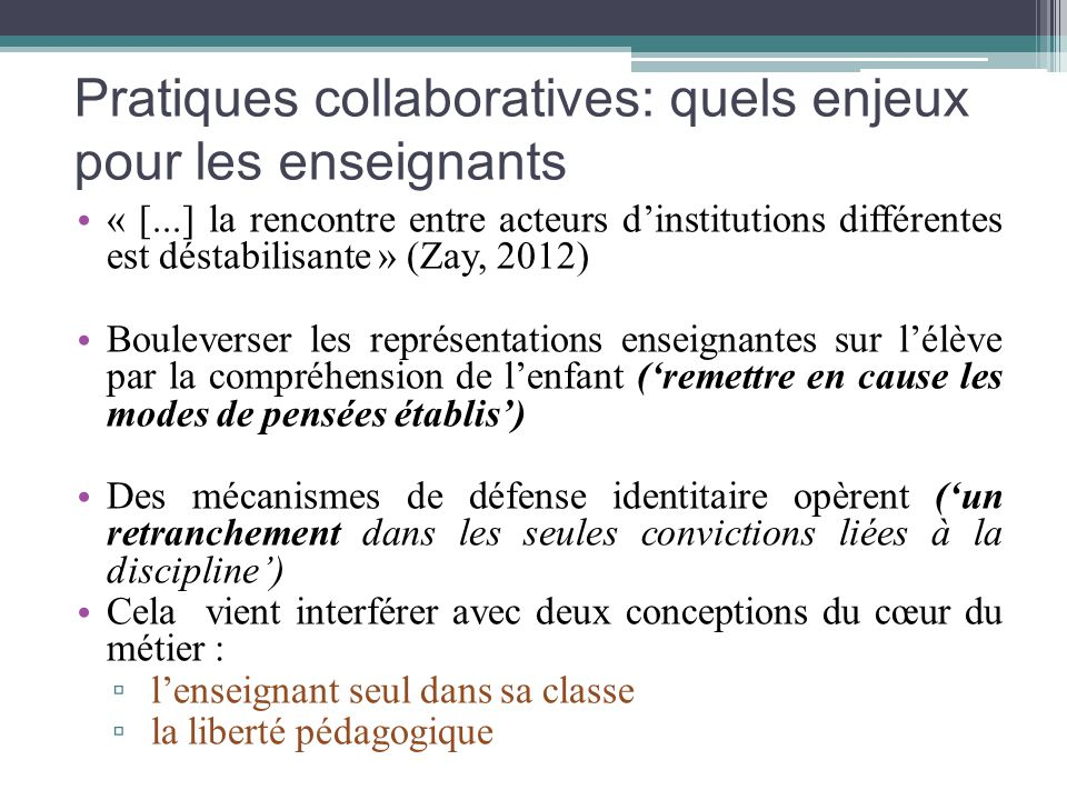 Pratiques collaboratives: quels enjeux pour les enseignants