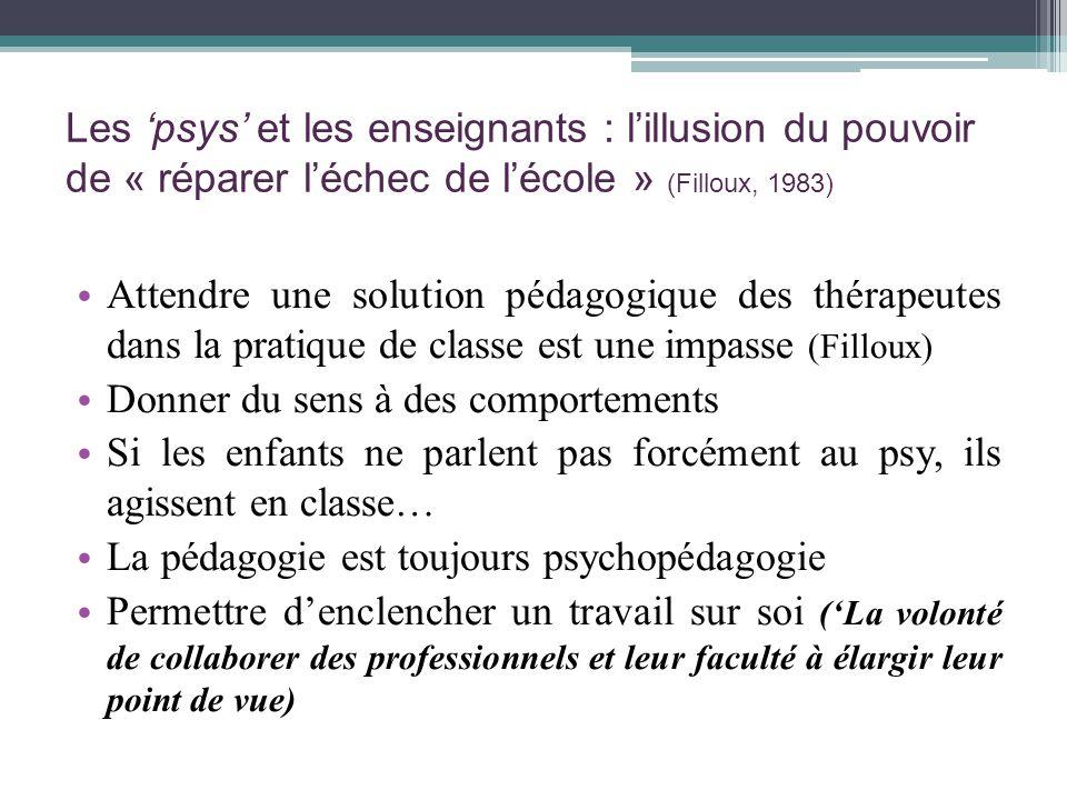 Les 'psys' et les enseignants : l'illusion du pouvoir de « réparer l'échec de l'école » (Filloux, 1983)