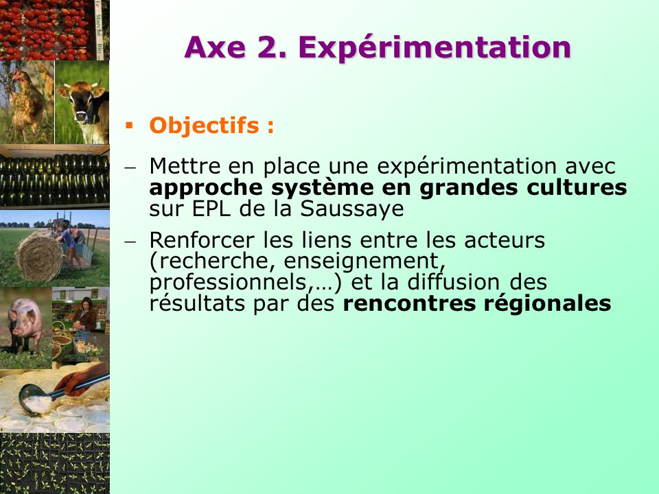 Axe 2. Expérimentation Objectifs :