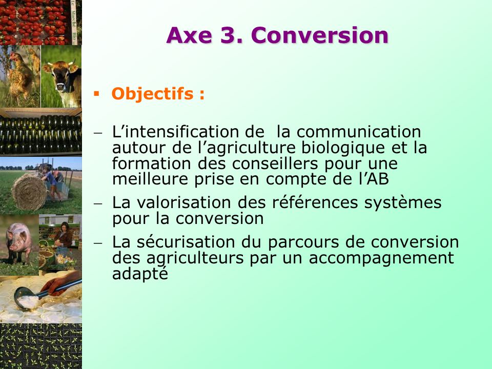Axe 3. Conversion Objectifs :