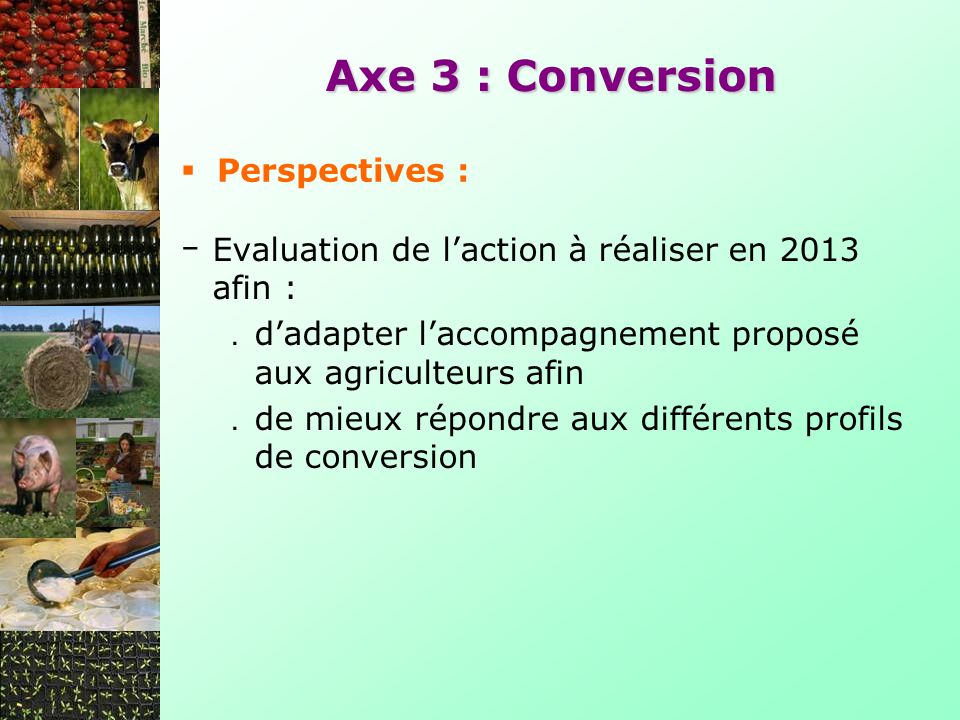 Axe 3 : Conversion Perspectives :