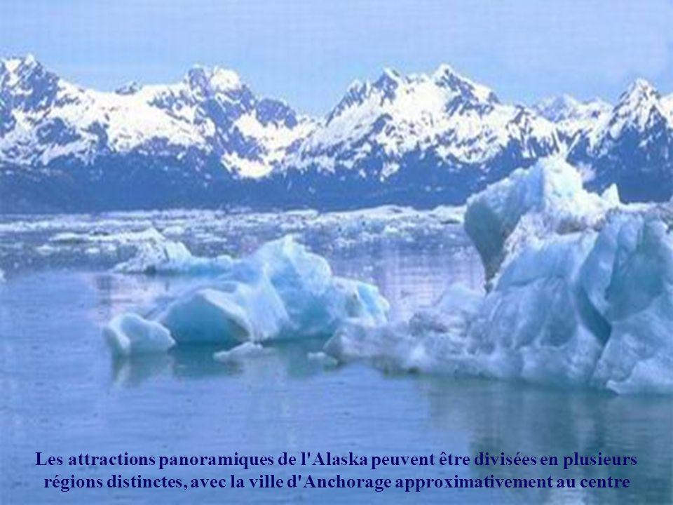 Les attractions panoramiques de l Alaska peuvent être divisées en plusieurs régions distinctes, avec la ville d Anchorage approximativement au centre