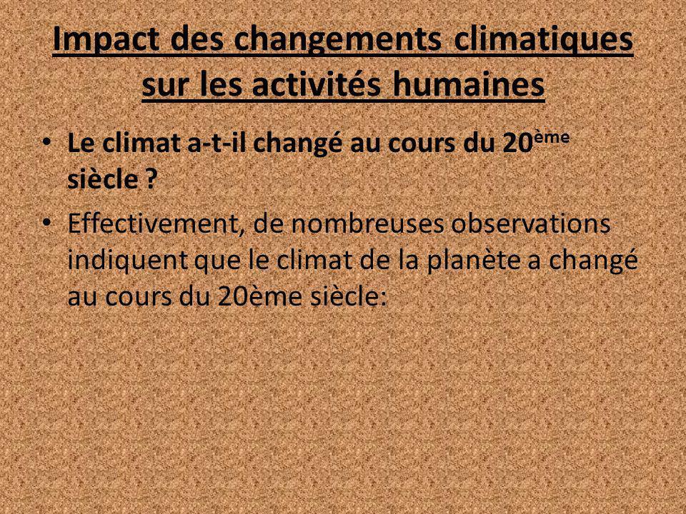 Impact des changements climatiques sur les activités humaines