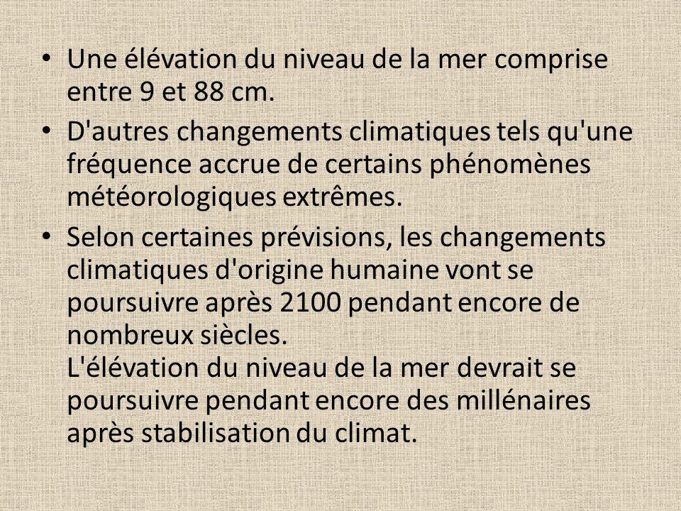 Une élévation du niveau de la mer comprise entre 9 et 88 cm.