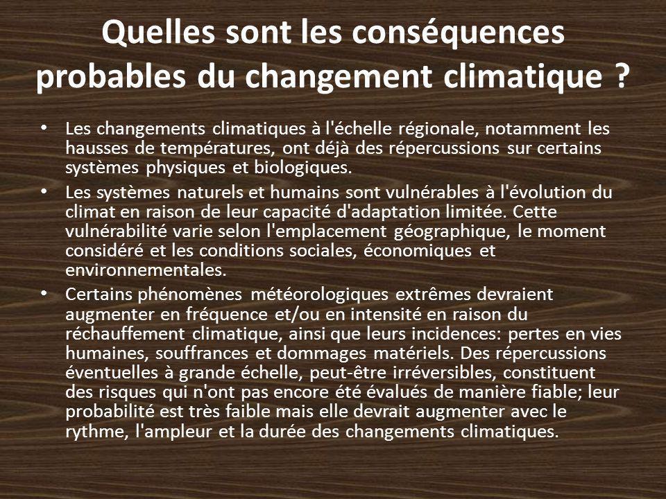 Quelles sont les conséquences probables du changement climatique