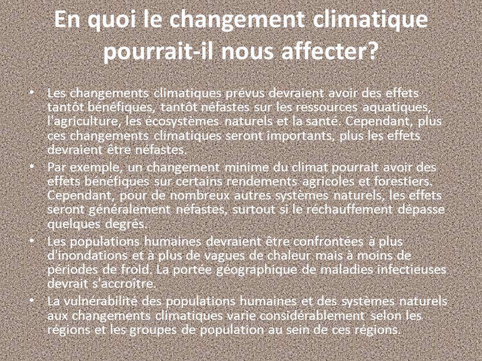 En quoi le changement climatique pourrait-il nous affecter