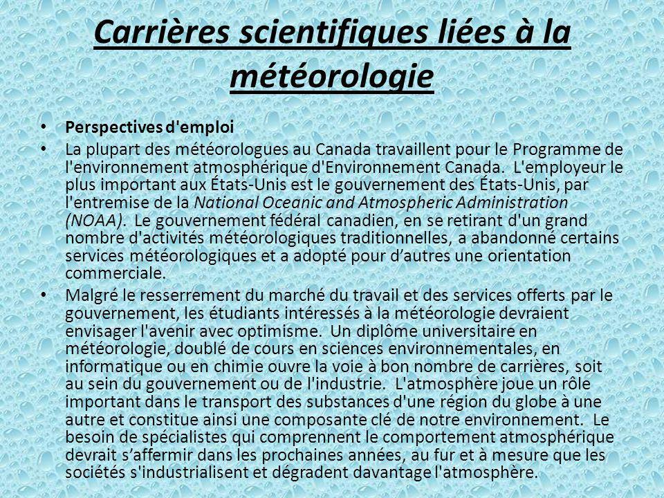 Carrières scientifiques liées à la météorologie