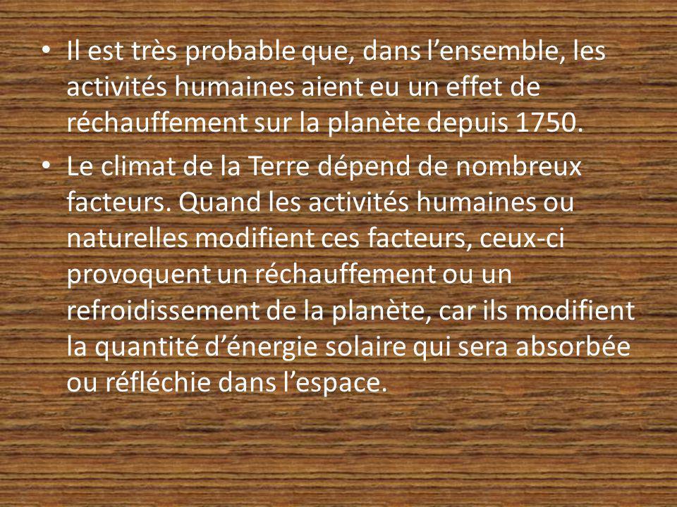 Il est très probable que, dans l'ensemble, les activités humaines aient eu un effet de réchauffement sur la planète depuis 1750.