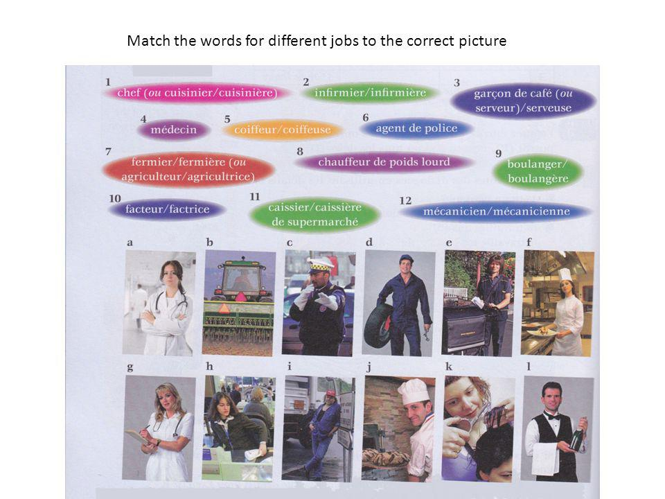 Match the words for different jobs to the correct picture