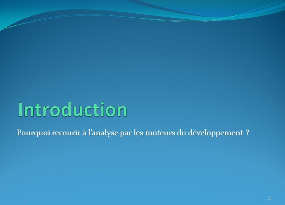 Introduction Pourquoi recourir à l'analyse par les moteurs du développement