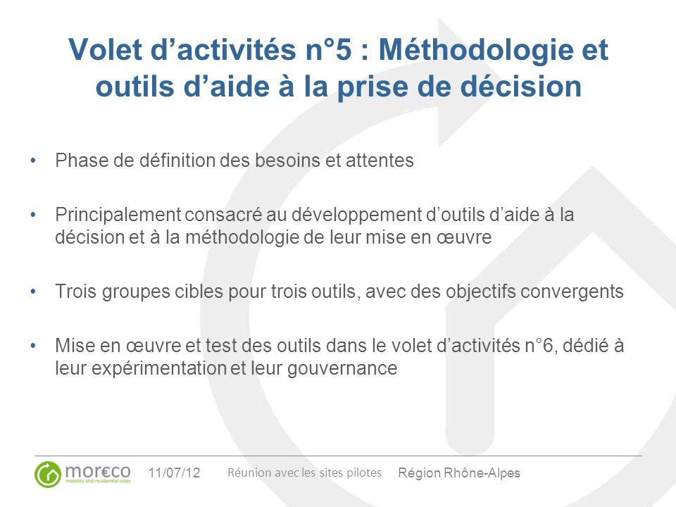 Volet d'activités n°5 : Méthodologie et outils d'aide à la prise de décision