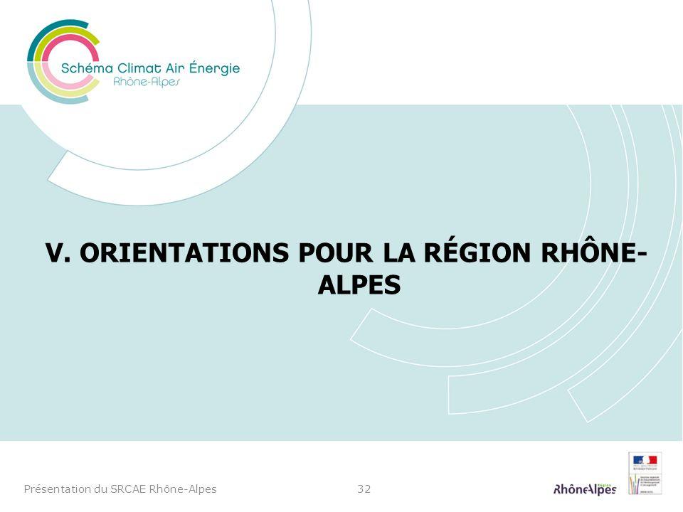 V. ORIENTATIONS POUR LA RÉGION RHÔNE- ALPES