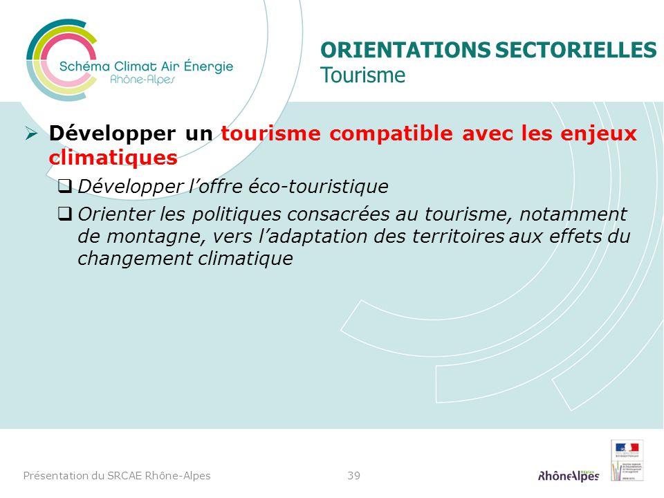 Orientations sectorielles Tourisme