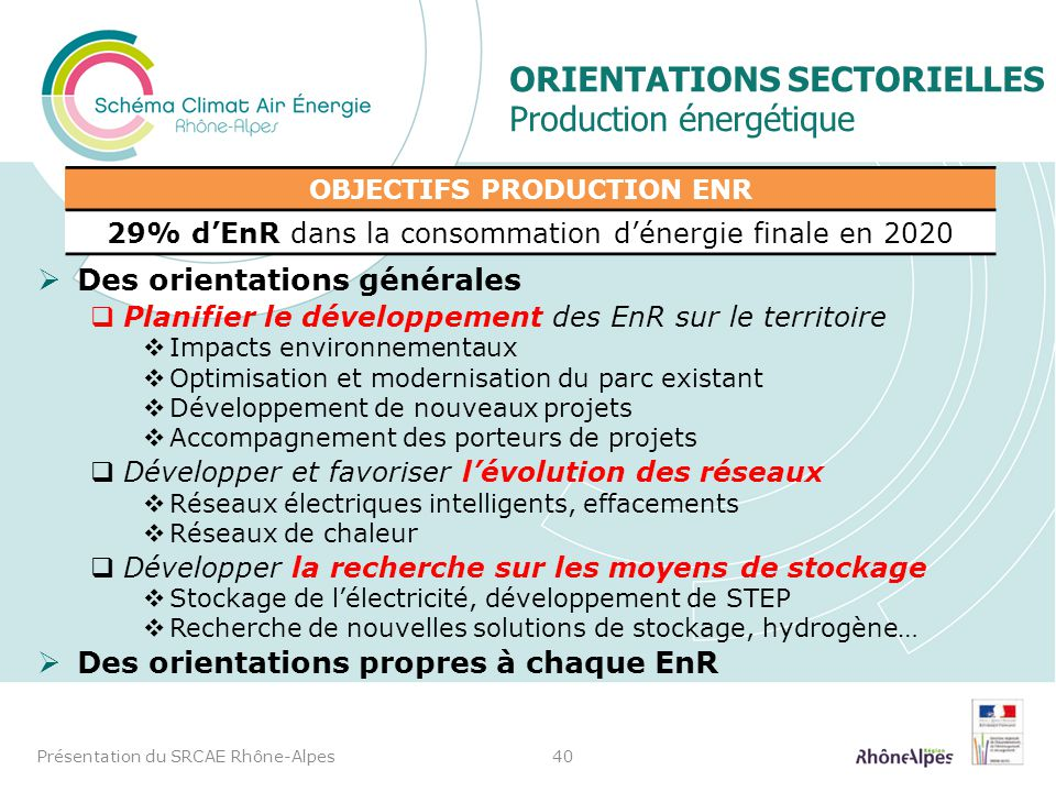 Orientations sectorielles Production énergétique