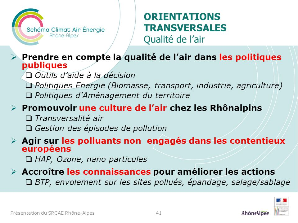 Orientations transversales Qualité de l'air