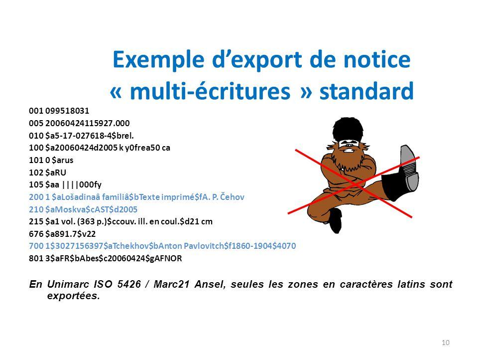 Exemple d'export de notice « multi-écritures » standard